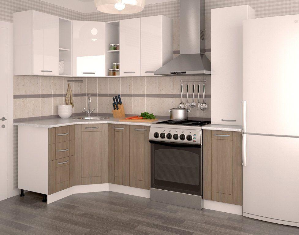 угловой кухонный гарнитур белый глянец чайное дерево 1250x1850