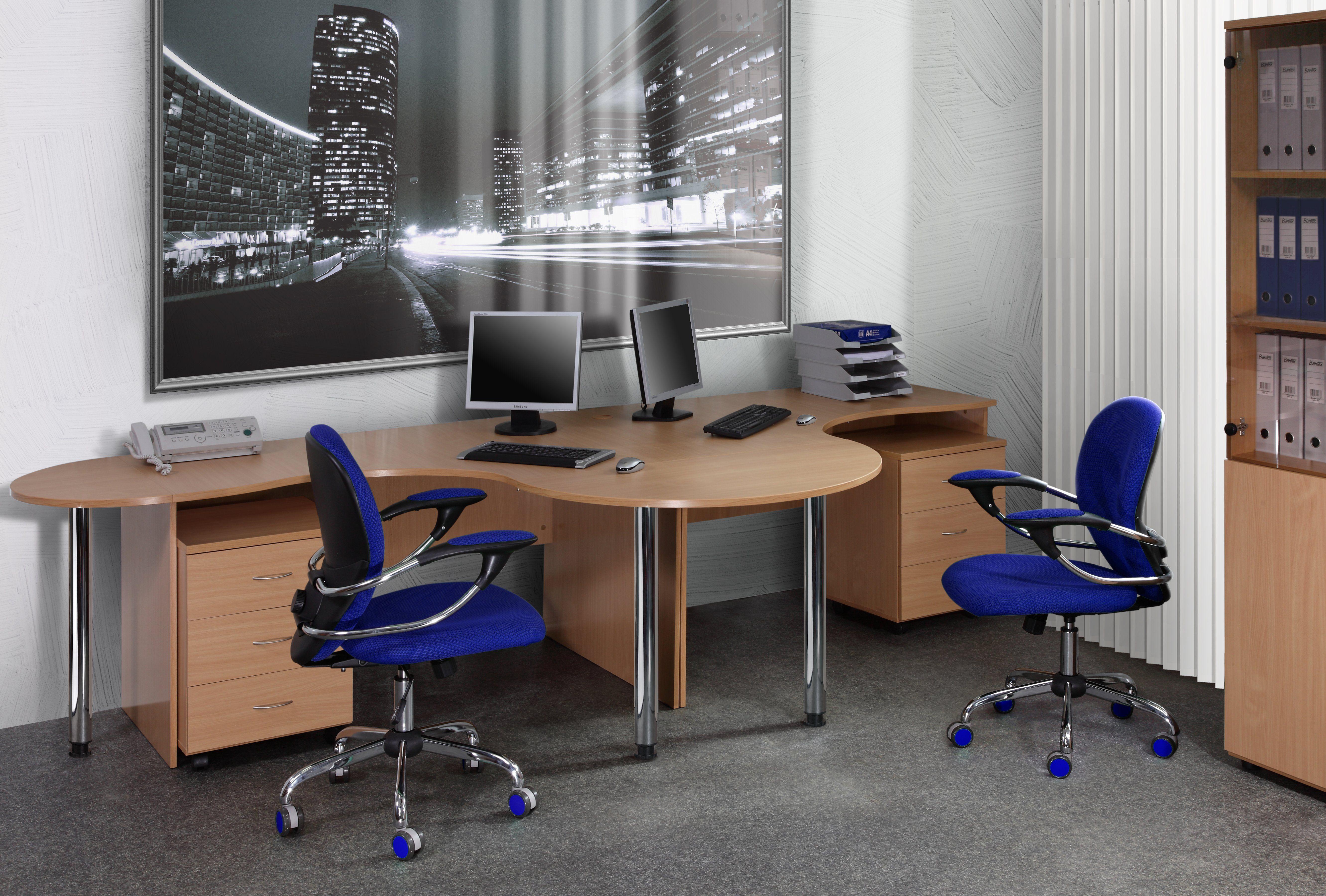 фото компьютерный стол на два рабочих места источника света цветными