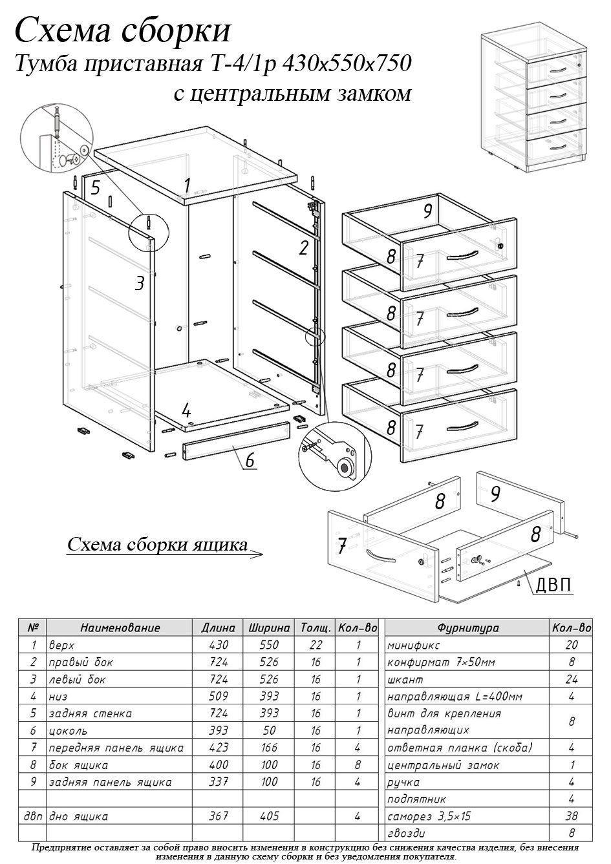 Схема сборки тумба с вешалкой